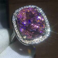 4.50Ct Oval Cut Pink Sapphire & Diamond Halo Engagement Ring 14K White Gold Fn