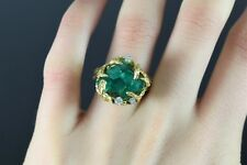 $14,500 Estate MCD 18K Yellow Gold Natural Chatham Green Emerald Diamond Ring 7