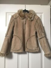 "Girls ""Brown Sherpa Fur"" Patchwork Suede Jacket Coat 10/12 Fall Winter Clothes"
