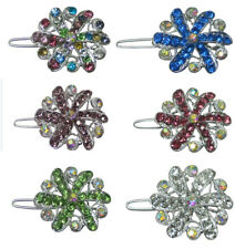Set of 6 Small Medallion Barrettes, 1 ea of 6 Colors, Snap Hair Clips U1719-6