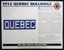 Willabee & Ward ~ Nhl Throwback Hockey Patch & Info Card ~ 1912 Quebec Bulldogs