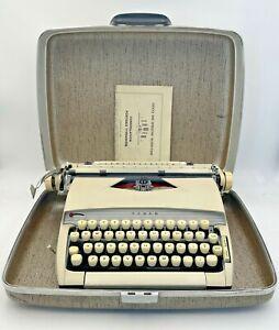 Sears Tower Constellation Portable Manual Typewriter W/ Case Brown Tan 21-1683