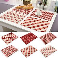 Cotton Linen Placemat Christmas Cutlery Holder Heat Insulation Weaving Table Mat