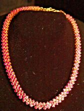22K 916 GOLD RUBY Necklace Yellow Solid PRONG adjustable Choker Not scrap