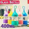 Leakproof Portable Rope 400ML Glass Juice Tea Water Drink Bottle