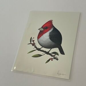 Mike Mitchell Red Crested Cardinal 2017 Fat Bird Kingdom SIGNED Black White