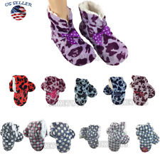 Women Fleece Lined Fuzzy House Slip On Non-Skid Warm Slippers Booties Shoes (10)