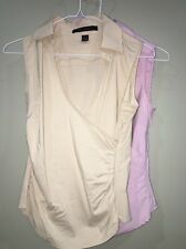 2 Express Design Tops Blouses Tan/Beige Purple Womens XS 0-2