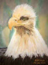 Vintage Hand Painted Bald Eagle Painting G. Rotoue 1994 10� X 13�