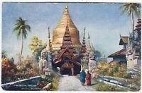 BURMA Shwe Geena Pagoda - Raphael Tuck Oilette #9459 - c1900s era postcard
