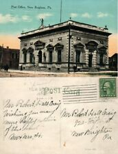 NEW BRIGHTON PA POST OFFICE 1914 ANTIQUE POSTCARD