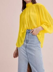 BNWT Country Road Sheer Blouse 12 M Blouse, Women's Butter Yellow Top RRP$159