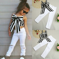 2pcs Girls Kid Bow T Shirt Tops Dress Striped Pants Tracksuit Set Outfit Clothes
