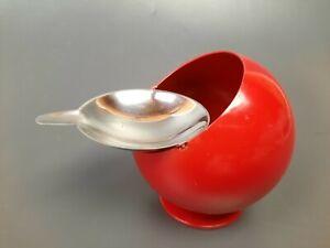 Quist Kugel Aschenbecher - Chrom Rot dm 8cm  Kugelaschenbecher 70er Jahre