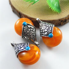 10pcs Antique Silver Orange Resin Drop Look Alloy Pendants Charms Findings 52572