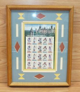 American Indian Dances Full Sheet Stamp Collection in Wood Frame **READ**