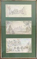 EUROPEAN LANDSCAPES. WATERCOLOR ON PAPER. SIGNED ANAGRAMA FSR. 1897/1899.