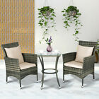 3 Piece Garden Furniture Set Patio Rattan Wicker Cushioned Chairs W/ Glass Table