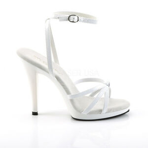"Fabulicious 4.5"" Heel Mini Platform Shiny White Buckle Wrap Strappy Sandals 5-16"