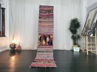 Vintage Moroccan Boucharouite Handmade Rug 2x9'6 Berber Striped Red Wool Carpet