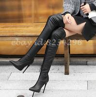 Sexy Stilettoabsatz Overkneestiefel Damen Boots Stiefel Spitz Gr34-48 Europa TOP