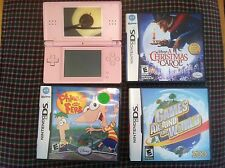 Pink Nintendo Ds lite Disney Childrens Kid 3 game Bundle package