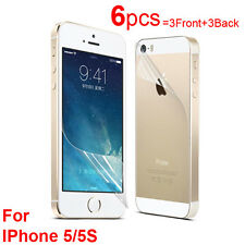 6X Clear LCD Screen Protector Cover Guard (3Front and 3Back) for iPhone 5 5S