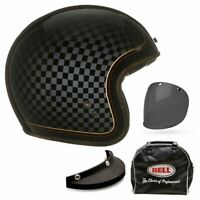 Bell Custom 500 RSD Check It Open Face Motorbike Helmet + Free Bag & Visor, Peak