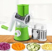 3 In 1 Multifunctional Round Slicer Manual Vegetable Cutter grater New [Green]
