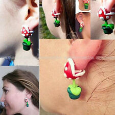 1Pair Handcrafted Mario Piranha Plant Flower Polymer Clay Ear Stud Earrings Gift
