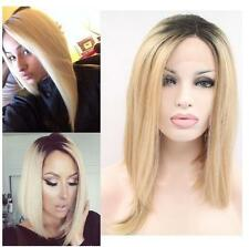Women Synthetic Wigs Natural Straight Black Root Blonde Heat Resistant Hair Wigs