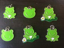 Enamel Frog Charms - Jewelry, Scrapbooking, Crafts - (6) Six Charms