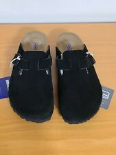 Birkenstock Boston Soft Footbed Black Suede Leather Clog - NEW - Choose Size