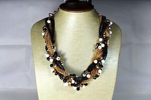 Statement Kette Halskette Collier Bohemian Vintage Style Schwarz Perlen A.K35
