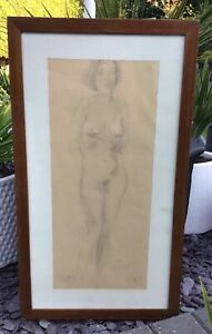 Framed nude pencil charcoal sketch, signed M Soyer, and dated 38