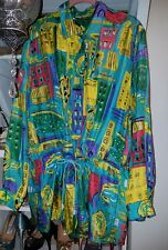 DIANE GILMAN L 100% Silk Tunic cinched waist NY City ~scape Excellent Colorful