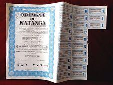 Compagnie du Katanga  (Congo) stock certificate 1958