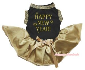 Happy New Year Black Cotton Top Gold Satin Tutu Pet Dog Dress Puppy Clothes