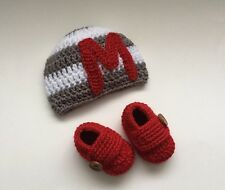 NEW Newborn Baby Boy Monogram Letter Hat Booties Crochet Photo Prop Gift