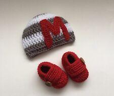 NEW Newborn Baby Boy Monogram Letter Hat Booties Crochet Photo Prop Gift