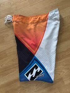 Orange Andy Irons Signature Billabong AirLite Stretch Rising Sun Board Shorts 30