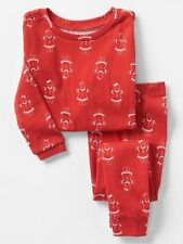 GAP Baby Girls Size 6-12 Months Red Gingerbread Christmas Holiday Pajama PJ Set