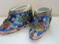 """4.4"""" Old Chinese Blue White Porcelain Silver Dynasty Dragon Phoenix Shoes Pair"""