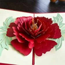 3D Pop UP Card Birthday Gift With Envelope Stickers Flowers Laser Cut Invitation