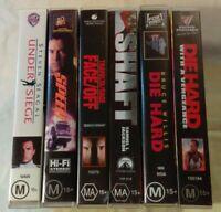 Bulk VHS Lot - 6 Classic Titles: Die Hard, Shaft, Speed, Face/Off, Under Siege++