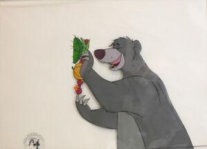 Disney Jungle Book animation cell Baloo the Bear picking fruit Bare Neccessities