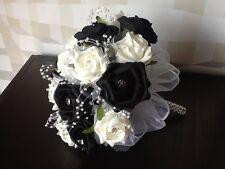 WEDDING FLOWERS BRIDES PLUS MAIDS IVORY/BLACK FOAM ROSE BRIDAL BOUQUETS PACKAGE