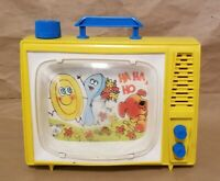 Vintage Musical Color TV Wind Up Toy Ohio Art - Yellow - Lullabuy - Scrolling