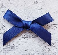 Navy Blue Small Mini Satin Bows Ready Made Ribbon Arts & Craft Cards Sewing