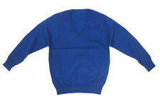 NEW Ex M&S Unisex 'V' Necked Cotton Rich School Jumpers Royal Blue AGE 3-10 Yrs